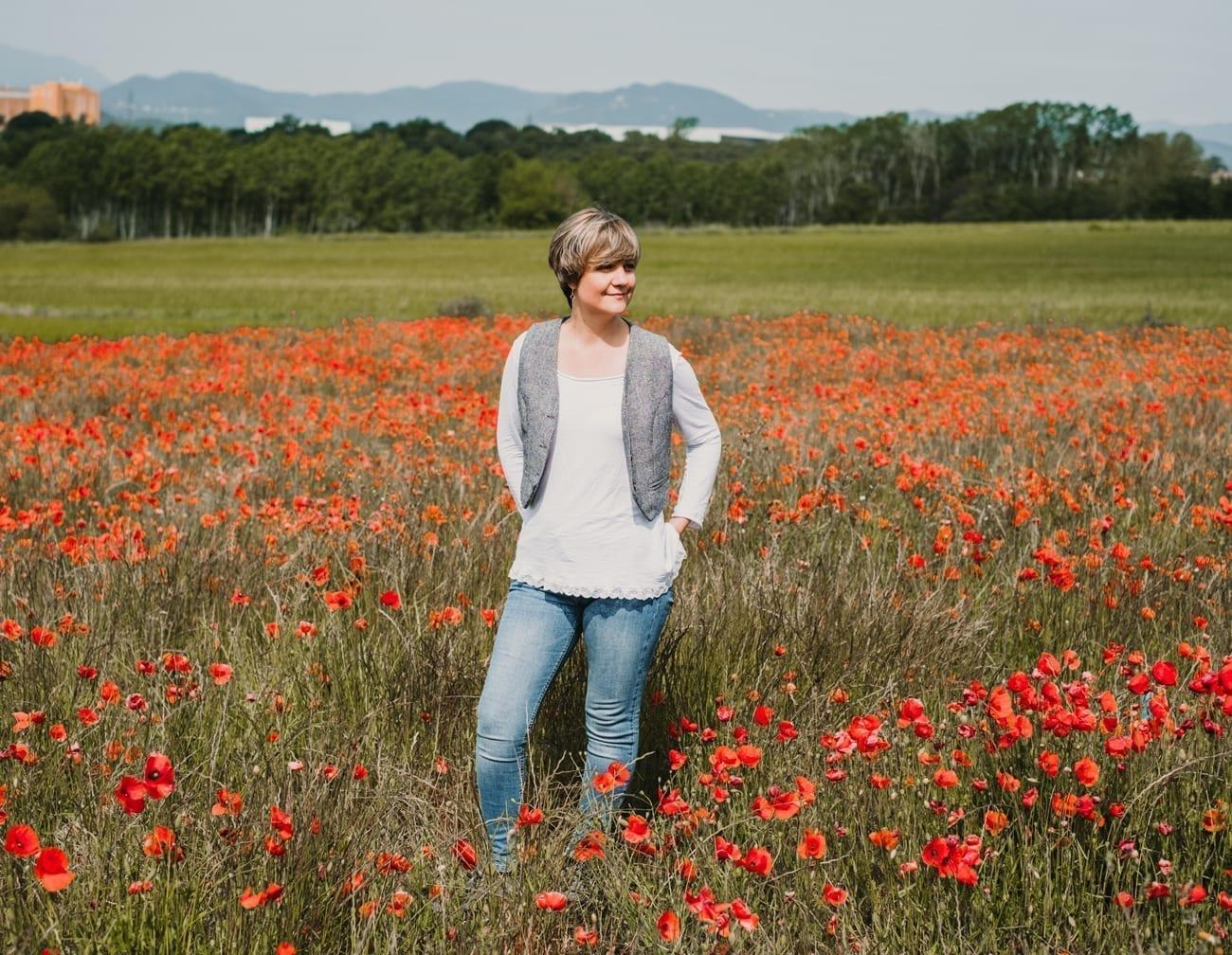 natalia campo con flores